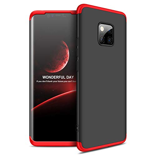 9-evei Huawei Mate 20 Pro Hülle, HandyHülle 3 in 1 Ultra Dünner PC Harte Case 360 Grad Ganzkörper Schützend Schutzhülle Tasche für Huawei Mate 20 Pro (Rot+Schwarz) -