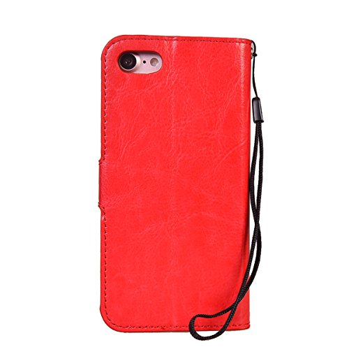 iPhone 7 (4.7 inches) Coque,COOLKE Flip Pliable Cover Case Portefeuille Wallet Etui Cuir Cas Shell avec Pratique Fonction Support Fermeture Magnétique Card Holder pour Apple iPhone 7 (4.7 inches) - Bl Rouge