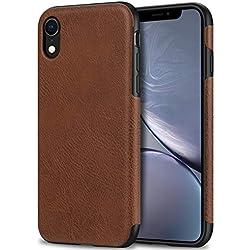 Bisikor Coque iPhone XR Cuir Slim Case Compatible avec iPhone XR (Marron)