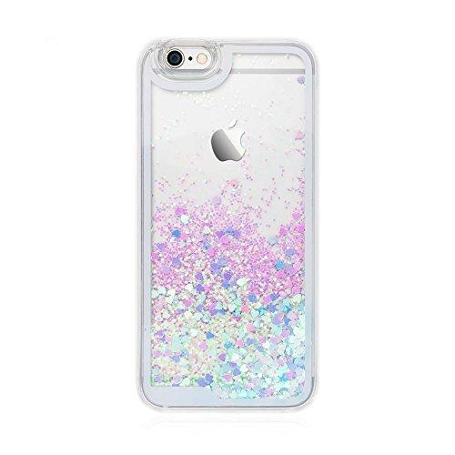 Handy Hülle Bling Bling Glitter Liquid Schutzhülle Cover Case Star Treibsand von ZhinkArts für Apple IPhone 6 / 6S Blau Herz (I Phone 6 Case Glitzer-flüssigkeit)