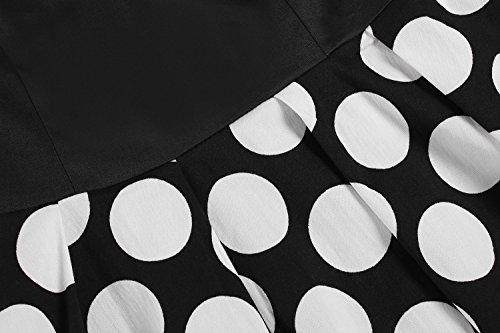 ZEARO Femme Robe Vintage 1950s a Pois Rockabilly Robe Sans Manche Jupe Plissee Pour Soiree Cocktail Noir