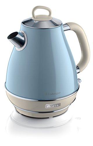 Ariete 2869 Bollitore Elettrico Vintage, Acciaio Inox, 1,7 L, Autospegnimento, 2000 W, per Acqua, Tè e Tisane, Azzurro Pastello