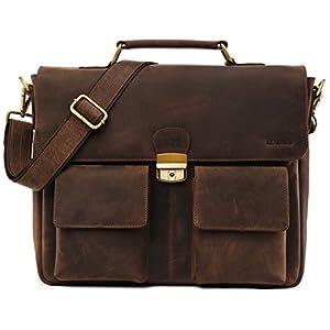 41cf2GzThqL. SS300  - LEABAGS Lisburn maletín de auténtico Cuero búfalo en el Estilo Vintage - Muskat