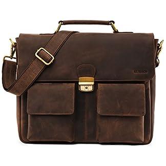 LEABAGS Lisburn maletín de auténtico Cuero búfalo en el Estilo Vintage