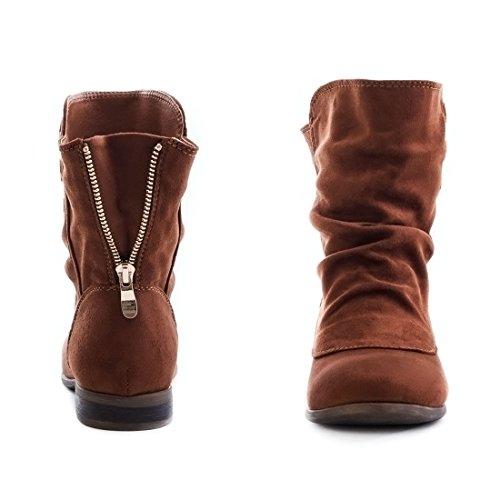 Damen Schlupf Stiefeletten Boots in Lederoptik mit Reißverschluss Camel Wildlederoptik