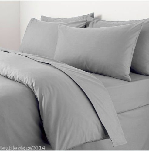 Sapphire collection 100% Egyptian Cotton 300 Thread Count Duvet Cover With Pillow Case Bedding Set All Size (King, Grey)
