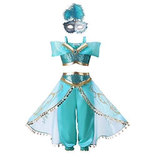 Mädchen Kostüm Klassische - Pettigirl Mädchen Blau Paillette Klassisch Prinzessin Ankleiden Kostüm Outfit (140cm (7-8 Jahre), Kostüm & Maske)