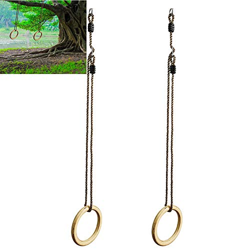 Holz-Gymnastikringe, mit Seil, Durchmesser 10 mm, verstellbare Gurte Rang, für Kernkraftübungen - Intensive Sportgeräte für Sportler (Bars Ausrüstung Workout)