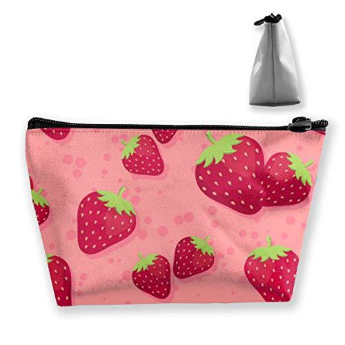 Borsa per cosmetici red sweet strawberry art con cerniera, borsa da toilette/viaggio per accessori gioielli spazzole