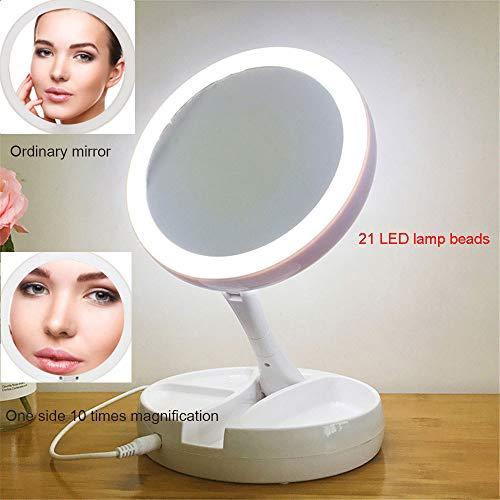 Drq lampada da trucco a led lampada da tavolo ricaricabile specchio bilaterale pieghevole 10x 1x luce trucco multi-funzione
