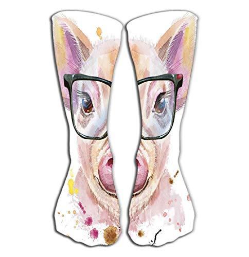 CVDGSAD Outdoor-Sportarten Männer Frauen Hohe Socken Strumpf Aquarell Porträt Mini Schwein Brille Niedlich Schweinchen Rosa Fliesen Länge 19,7