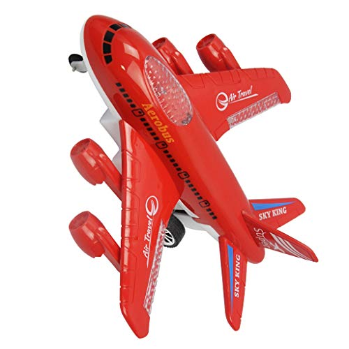 Perfeclan Ferngesteuerte Flugzeug 4-Kanal RC Passagierflugzeug mit Licht & Musik, Kinder Spielzeug - Rot