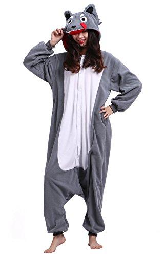 Wolf Kostüm Zu Eine Hause - Wamvp Halloween Kostüme Jumpsuit Pyjama Schlafanzug Erwachsene Tier Unisex Wolf - XL