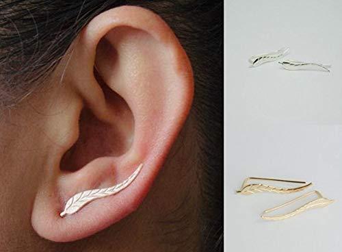 Elegante Blätter Damen Ohrringe aus Edelstahl in Gold Frauen Schmuck aus Edelstahl in Blatt Form (Ohrring-gold Für Frauen)