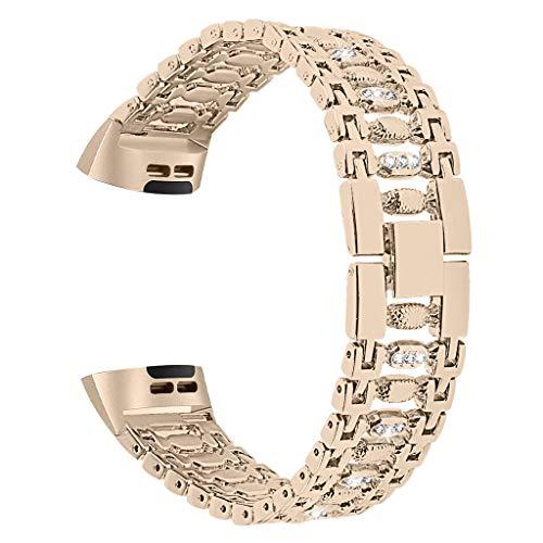 Bling Strass Smartwatch Ersatz Armband,Edelstahl Metallarmband, Alloy Solid Wire Mesh mit Interlock Verschluss,5.5-8.0inch,für Buiness Party Banquet Daily,für Fitbit Charge 3 Smart Watch Nickel Wire Mesh