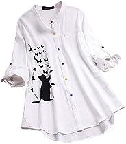 OULSEN Women Button Down Long Shirt Plus Size Fashion Floral Cat Pattern Print Loose Casual Long Sleeve Tunic