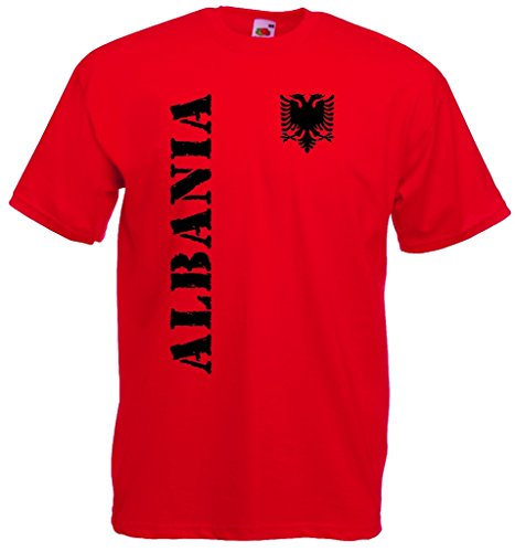 World-of-Shirt Herren T-Shirt Albanien EM 2016 Trikot Fanshirt|rot-XL