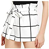 OIKAY Kurze Hosen Damen Sommer Womens Plaid Mid Loose Waist Hot Shorts Hosen Hose Jersey Walking Shorts(Weiß,XL)