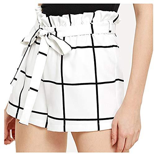OIKAY Kurze Hosen Damen Sommer Womens Plaid Mid Loose Waist Hot Shorts Hosen Hose Jersey Walking Shorts(Weiß,S)