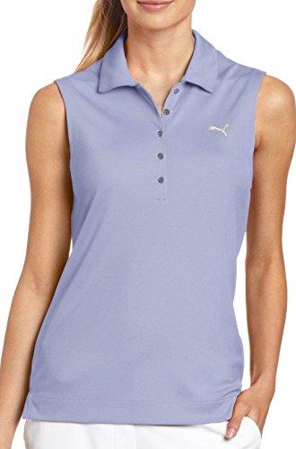 Puma Solid Golf-Poloshirt für Damen, ärmellos, Violett, Größe S