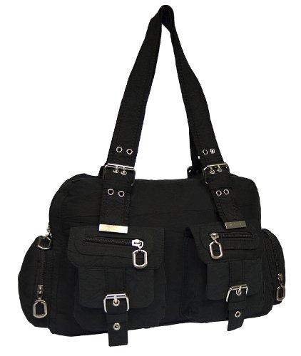 Tasche Damentasche Handtasche Stofftaschen Schultertasche 1041 (Schwarz) (Nylon Handtasche Sportliche)