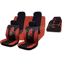 XtremeAuto® 15piezas rojo Tribal dragón frontal y trasero Funda de asiento juego de alfombrillas con almohadillas para los cinturones y volante pantalla