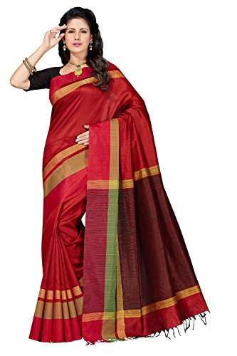 Rani Saahiba Art Dupion Silk Zari Border Saree ( RNB9_Red )