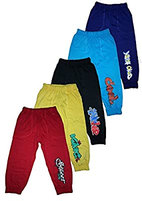 T2F kids Boys Track Pant (Pack of 5) -Red- Black- Violet- Yellow- Blue