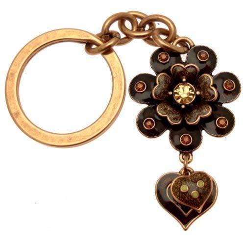 Acosta Brosche Emaille Vintage Stil &Crystal-Schlüsselanhänger Blume und Herz, in Geschenkbox (Kostüm Schmuck Broschen Uk)