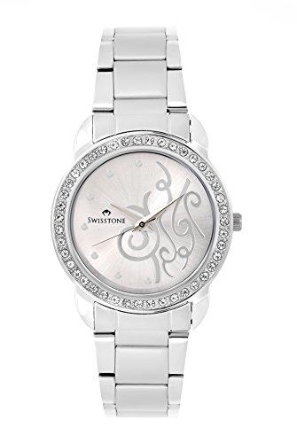 Swisstone Jewels Silver dial Watch for Women/Girls- JEWELS-LR201-SILVER