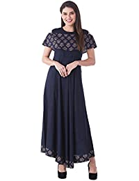[Sponsored]Khushal Women's Rayon Printed Designer Cold Shoulder Gown Kurta