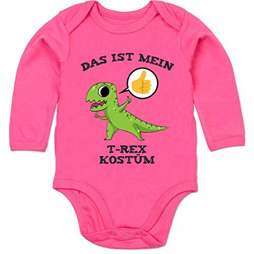 Shirtracer Karneval und Fasching Baby - Das ist Mein T-Rex Kostüm Comic - 12-18 Monate - Fuchsia - BZ30 - Baby Body Langarm