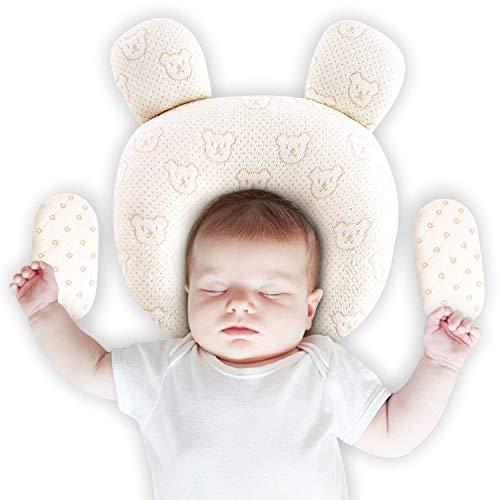 Upchase Baby Kissen, Orthopädisches Babykopkissen, Verhindert das Flacher-Kopf-Syndrom, Kopfkissen Set 100{50c04c9d8bb9377570ed526e1c3da5d0886a3cbd56da526dd2e9917548bf8342} Baumwolle(2 Kissenbezüge), Vorsorge der Plagiozephalie (Schädelverformung), Geschenk Kissen