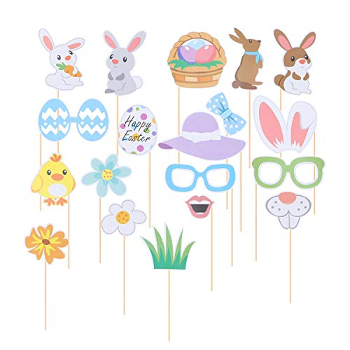 Amosfun Ostern Foto Requisiten Kit DIY Selfie Ei Hase Foto Requisiten Dress Up Kostüm Zubehör für Erwachsene Kinder Party Favors Dekoration Lieferungen