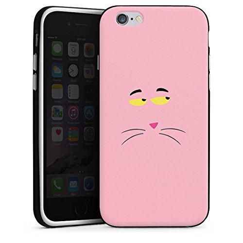 Apple iPhone X Silikon Hülle Case Schutzhülle Pink Panther Katze Cat Silikon Case schwarz / weiß