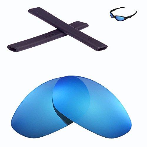 Walleva Wechselgläser Und Earsocks für Oakley Minute 2.0 Sonnenbrille - Mehrfache Optionen (Eisblau Polarisierte Linsen + Schwarzer Gummi)