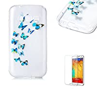 For Samsung Galaxy J1 Mini Prime Case [with Free Screen Protector], Funyye Crystal TPU Transparent Soft Silicone Ultra Thin Fashionable Pattern Cover for Samsung Galaxy J1 Mini Prime - Blue Butterflies