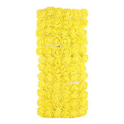 Kuizhiren1 Foam Rose Kopf künstliche Blume,72 Stücke Colorfast Schaum Rosen Künstliche Blüte Hochzeit Braut Party Home Decor Yellow (Baby-dusche Für Ein Mittelstücke)