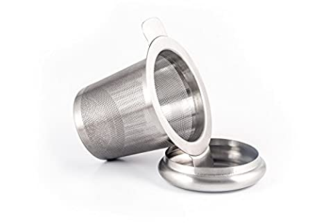 ZENZENZE Tea Infuser, Perfect Single Cup Brew Strainer for Loose Leaf Teas, Stainless Steel with Lid as Drip Tray, FREE RECIPE EBOOK