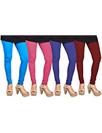 CAY 100% Cotton Combo of Maroon, Blue, SkyBlue and Baby Pink Color Plain, Stylish & Most Comfortable Leggings For Girls & Women with Full Length (SIZE : Free Size)