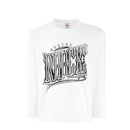 lepni.me Kinder-T-Shirt mit Langen Ärmeln Herr Netter Kerl - sarkastischer Slogan, Coole Grafik, lustige Zitate - Fantastische Geschenkideen für Ihn (7-8 years Weiß Mehrfarben)
