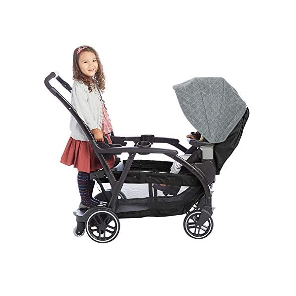Graco Modes Duo Tandem Pushchair, Shift Graco 27 riding options for 2 children from infant to toddler; click connect attaches with all graco snug ride/essentials infant car seats. suitable from birth to 13kg (approx. 3 years) Two removable, multi-position reclining seats can be positioned rear or forward facing; the built-in bench seat gives your big kid a place to rest; both front and rear seats hold up to 15kgs One-hand standing fold, folds with seats on or off; locking front swivel wheels for superior manoeuvrability; one-step brakes make stopping, and going again, quick and easy 9