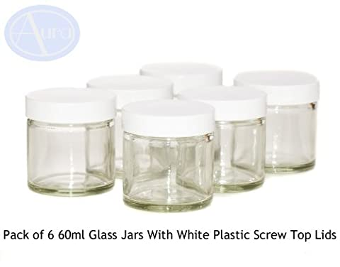PACK of 6 - 60ml CLEAR Glass Jars with WHITE Lids for Aromatherapy Blends / Creams