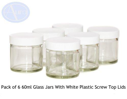 6er-PACKUNG - 60ml KLARGLAS-Behälter mit WEISSER Verschlusskappe für Aromatherapie-Mischungen / Cremes -