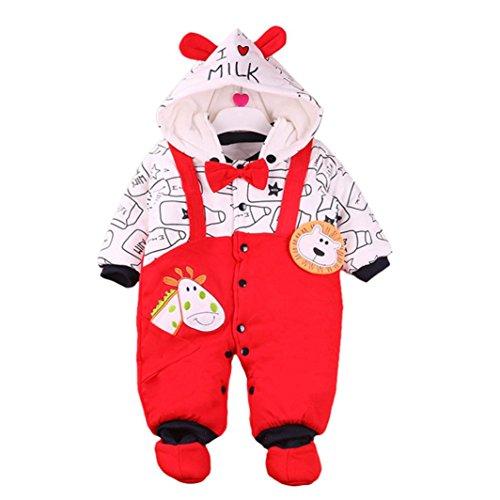 URSING Unisex Baby Weihnachten Strampelanzug Baby Overalls Strampler Schneeanzüge mit Kapuze Winter Outfits mit Stiefeln Mädchen Jungen Winterjacke Cartoon Warm Jumpsuit (0-3M, Rot) (Teen Kostüm Hoodie)