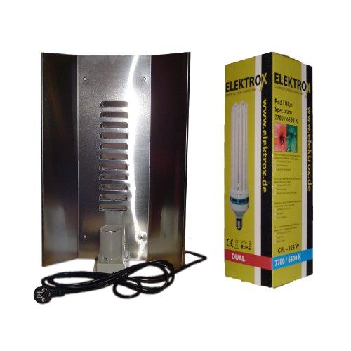 Energiesparlampe ESL/CFL komplett Set Lampe 125W DUAL Reflektor 3-flächig