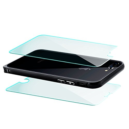 Coque aluminium + 2x Verre Trempé Apple iPhone 7 [Saxonia] Métal Housse Bumper rigide Ultra-mince (Jack) Noir (Jet Black) Noir