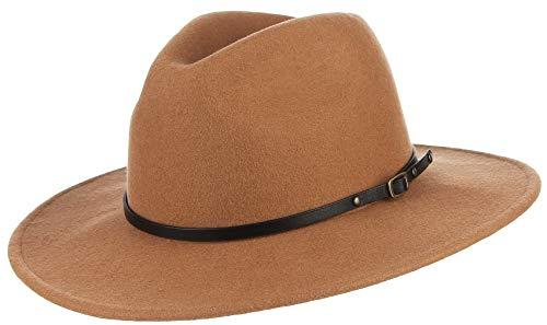DEMU Herrenfilzhut Filzhut Wollfilzhut Cowboyhut Westernhut Panamahut Bogart mit Breiter Krempe Ripsband-3