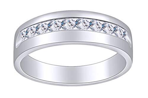 AFFY - Gold 14 Karat (585) 14kt Weiß-Gold Prinzessschliff Leicht Getöntes Weiß/Crystal (J) Diamant (Herren Gold 14kt Ringe)