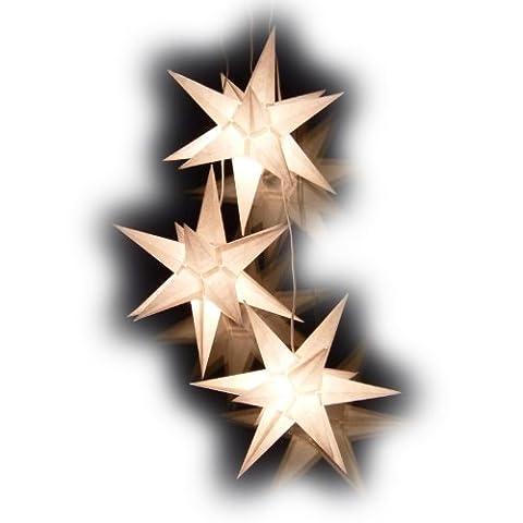 Weihnachtssterne: 3er Set weisse Sterne Sternschmiede (ArtNr. 300) beleuchtet aus Papier, inkl. Netzteil